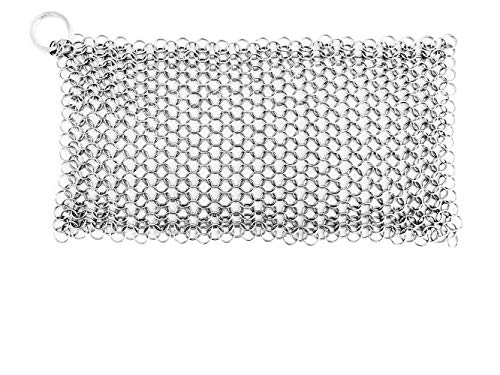REFAGO Stainless Steel Cast Iron Cleaner Chainmail Scrubber for Pre-Seasoned Pan Dutch Ovens Waffle Iron Pans Scraper Cast Iron Grill Scraper Skillet, 8''x6''