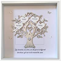 Personalised Silver Quote 'Like Branches On A Tree' Family Tree 3D Box Frame Keepsake Wedding Gift Home Christmas Birthday Anniversary Mothers Day Silver Glitter Up To 14 Names