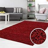 carpet city Teppich Shaggy Hochflor Langflor Flokati Einfarbig/Uni aus Polypropylen in Rot für Wohn-Schlafzimmer, Größe: 140x200 cm