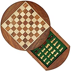 AVS Stores ® Wood Magnetic Travel Chess, Chessmen Set and Wooden Board Traveling Games (Round 7 inch)