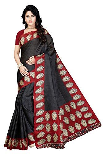 Rani Saahiba Art Silk Kalamkari Bhagalpuri Printed Saree ( SKR3742_Black )