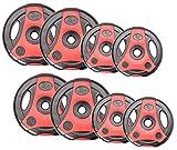 Bad Company K-Grip Hantelscheiben mit Griffen I Kunststoff ummantelte Gewichte 30/31 mm I 30 Kg Set (4 x 2,5 Kg, 4 x 5 Kg)