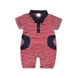 Julhold Infant Baby Boys Beiläufige Einfache Kurzarm Gentleman Fliege Streifendruck Lose Spielanzugoverall 0-18 Monate