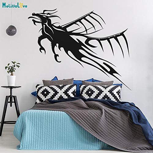 woyaofal Dragon Tattoo Wandaufkleber Flying Dragon Decals Dekoration Für Wohnzimmer Schlafzimmer Selbstklebende Vinyl Kunst Decals 52x42 cm