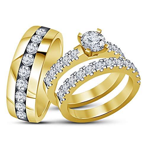 Vorra Fashion 14K Vergoldet 925Silber Trio Seine & Ihre Hochzeit Ring Set (Ihre Seine Und Trio Hochzeits-set)