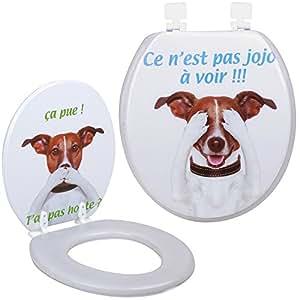 Promobo -Abattant De Toilettes WC Design Humour Fun Chien C'est pas Jojo Honte