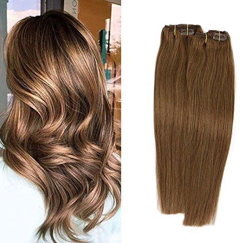 Clip in Echthaar Extensions Remy Haarverlängerung Echthaar 70g 7 Stück 15 Zoll Silky Straight Weft #8 Aschbraun Remy Haar(15Zoll, #8Aschbraun ) -