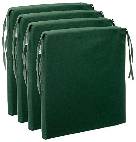 Brandsseller 4er Vorteilspaket Sitzkissen Stuhlkissen Sitzauflage Stuhlauflage - Uni Farben mit 4 Kordelbändern für sicheren Halt - 40x40 cm - Dunkelgrün