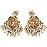 GAURAV GEMSTONE Traditional Moti Bandhani Gold Plated Chandbali Earrings for Women