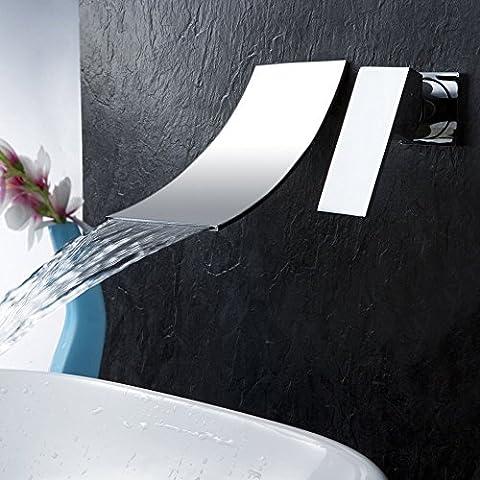 Hiendure® Montage mural Laiton Bathroom Faucet Cascade Lavabo Mélangeur Mitigeur, Chrome