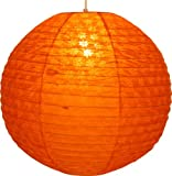 Guru-Shop Runder Lokta Papierlampenschirm, Hängelampe Corona Ø 50 cm, Orange, Lokta-Papier, Farbe: Orange, Deckenleuchte Kugelförmig