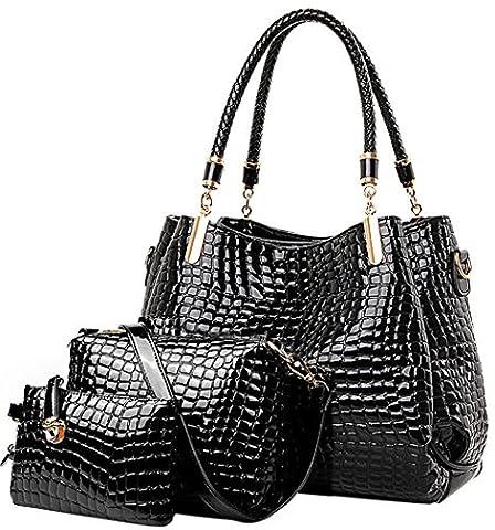 Crocodile Femmes sac en cuir Set Mesdames Hobo Sac bandoulière et Sac à main Vin Le noir
