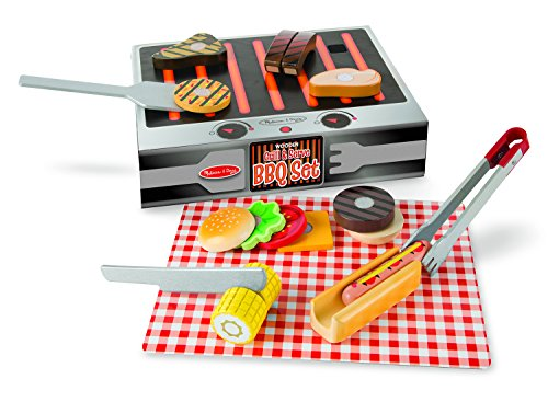 51DsaEm6w3L - Melissa & Doug BBQ-Set aus Holz zum Grillen & Servieren (Spielzeuglebensmittel aus Holz, 20 Teile)