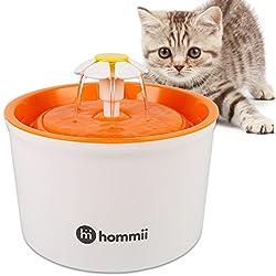Hommii Gato/Perro Silencio Flor Fuente de Agua 1.6 L Eléctrico Automático para Mascotas Filtro