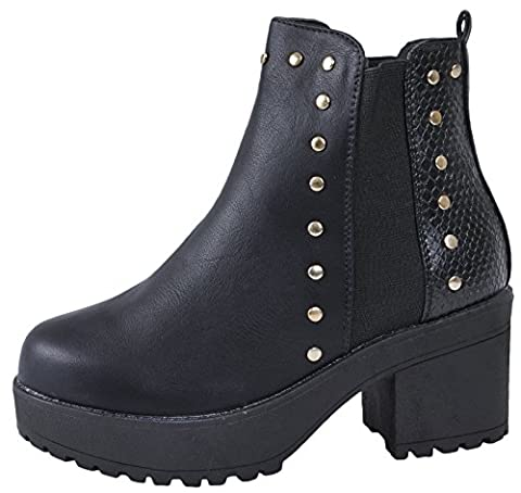 Lora Dora Kids Girls Mid Chunky Block Heel Chelsea Low Ankle Boots Platforms Size UK 10-3