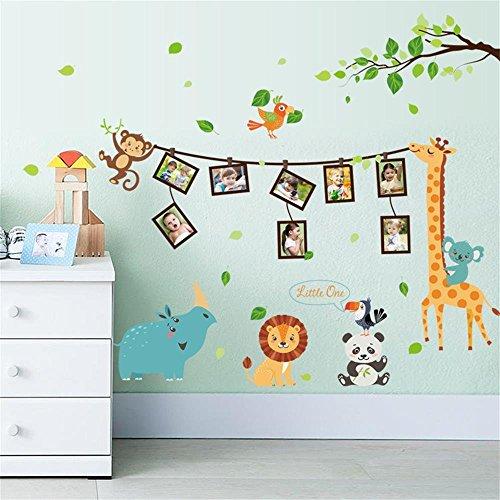 Cornici fotografiche simpatici animali adesivi murali giraffa leone rinoceronte scimmia uccelli albero decorazione rimovibili vinile diy stickers murali decorazione murale per asilo nido, soggiorno, camera da letto per bambini
