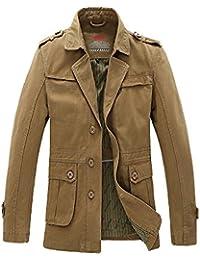 Keral Men's Solid Windbreaker Single Breasted Trench Jacket