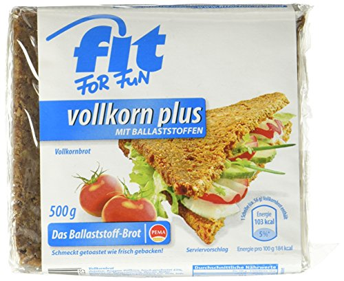 PEMA Fit for Fun Vollkorn Plus, Roggen-Vollkornbrot angereichert mit Ballaststoffen, 6er Pack (6 x 500 g)