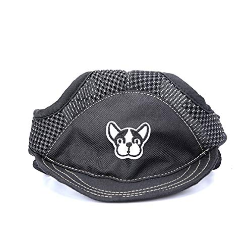 Funnyrunstore Fashion Dog Cat Visiera da Baseball Sport Hat cap Cucciolo Summer Ear Fori Traspirante Fascia Regolabile Sunbonnet Pet Supply (Nero; M)