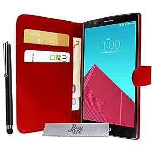 Etui Housse Luxe Rouge Portefeuille LG G4 + STYLET et 3 FILM OFFERT!!