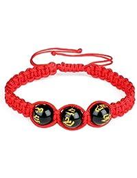 Pulsera trenzada de cuerda roja con piedra natural obsidiana de 10 mm, pulsera de la suerte ajustable para hombre y mujer.