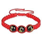 Natur Stein Obsidian Armband geflochten rot Seil 10mm Lucky verstellbares Armband für Damen und Herren
