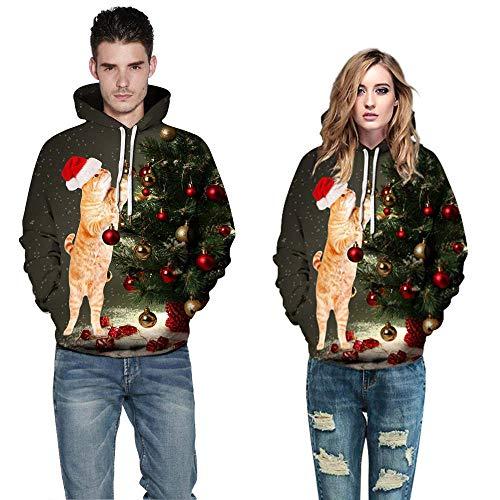 Geili Liebespaar Weihnachtspullover Unisex Weihnachten 3D Druck Hoodie Christmas Xmas Große Größen Sweatshirt Kapuzenpulli Herbst Winter Warme Festlich Kapuzenpullover für Damen Herren