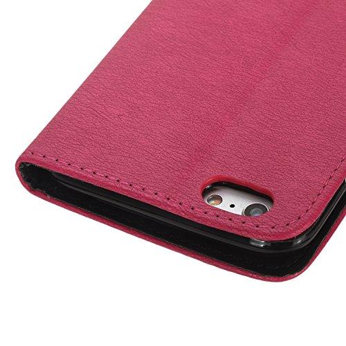 Coque pour Apple iPhone 6/6S(4.7 Zoll),Housse en cuir pour Apple iPhone 6/6S(4.7 Zoll),Ecoway Correspondance des couleurs étui en cuir PU Cuir Flip Magnétique Portefeuille Etui Housse de Protection Co Rose rouge / Rose rouge / noir