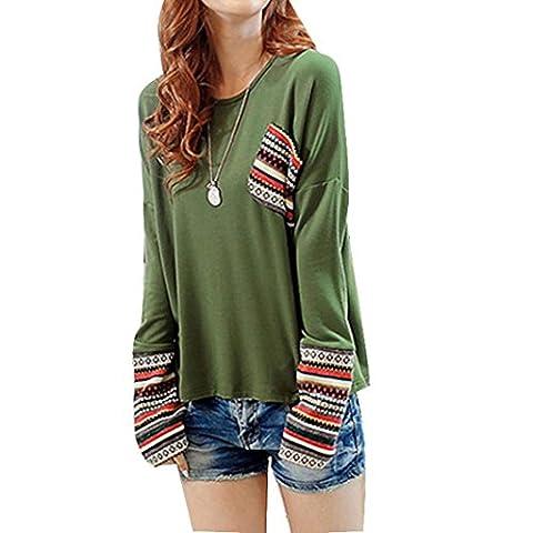 Sunnywill Womens Long Sleeve Runde Hals lose Hemd Bluse Tops für Mädchen Damen (S, Grün)