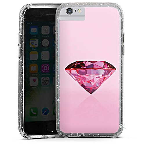 Apple iPhone 6 Plus Bumper Hülle Bumper Case Glitzer Hülle Diamond Diamant Rose Bumper Case Glitzer silber