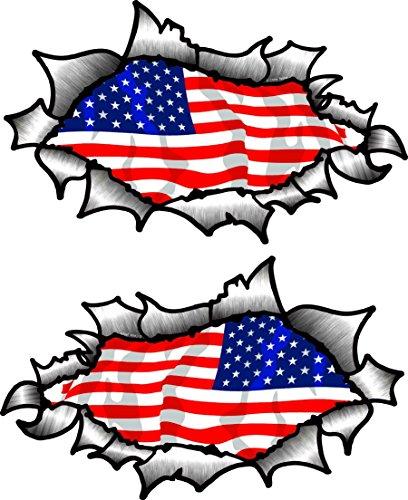 piccolo mano COPPIA OVALE STRAPPATO Open Strappato effetto metallo modello con American Stelle & strisce bandiera USA VINILE Casco da moto adesivo 85x50mm CADAUNO