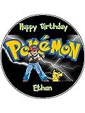 Runde, essbare Kuchen-Topper, Motiv: Pokemon, 19,1 cm, Geburtstag, Foto