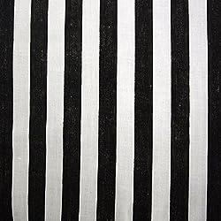 Blanco y Negro 11mm tela de polialgodón diseño de rayas (por metro) 45cm 114cm de ancho