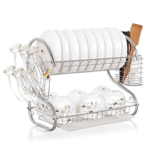 Kommii 2 Tier Dish Drying Rack Functional Durable Wire Frame Hanging Rack with Plastic Tray for Kitchen Utensils by Kommii - Wire Rack Frame