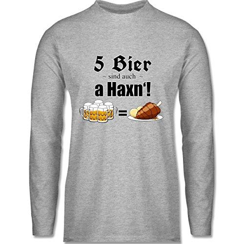 Shirtracer Oktoberfest Herren - 5 Bier Sind Auch a Haxn'! - Herren  Langarmshirt Grau