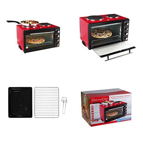 Miniofen mit Herdplatte 3300 Watt Miniküche Kochfeld Rot Camping-Ofen (Camping-Herd, Mini-Backofen mit 2 Kochplatten, Pizza-Ofen, 30 Liter, Single-Küche)