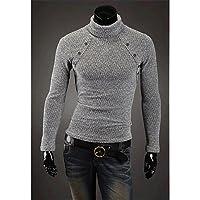 GS~LY Maglioni uomo MEN - Maglioni - Vintage / Informale / Feste / Lavoro Rotondo - Maniche lunghe Cotone / Misto lana , dark gray , xl