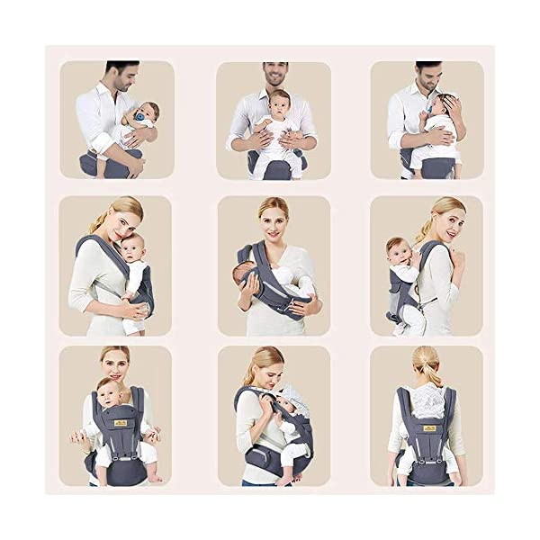 Viedouce Baby Carrier Ergonomic for Newborn,Pure Cotton Front Back Child Carrier with Detachable Hood Multi-Position Soft Backpack Carrier,Complete Safety Protection(0-48 Months) (Dark Gray) Viedouce 【More environmentally friendly】-Baby carrier has high quality pure cotton fabric with 3D breathable mesh take care of your health and the health of your baby; The detachable sun visor and wind cap provide warmth in the winter and freshness in the summer. At the same time, the zipper buckle is designed for easy disassembly and cleaning. 【More ergonomic】 -Baby carrier for newborn has an enlarged arc stool to better support the baby's thighs, the M design that allows the knees to be higher than the buttocks when your baby sits, is more ergonomic. 【Comfort and safety】 - The area near the abdomen is filled with a soft and thick sponge, reduces the pressure on the abdomen and gives more comfort to you and your baby. High quality professional safety buckles and attach, shock absorbing pads, are equipped to protect your baby. 2