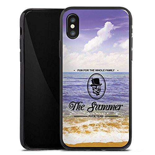 Apple iPhone X Silikon Hülle Case Schutzhülle Strand Ferien statement Silikon Case schwarz