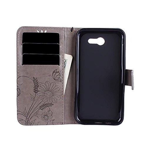 Premium PU-Leder Folio Stand Case, Solid Farbe prägeartig Blumen Stil Schutzhülle Tasche Tasche mit Lanyard & Card Slots für Samsung Galaxy J3 Prime ( Color : Rose gold ) Gray