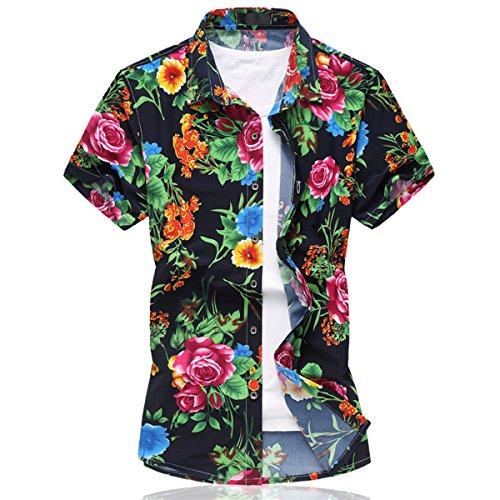 Mirecoo Herren Strand Hemd Hawaii-Print mit Blumen Kurzarm T-Shirt Ferien
