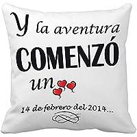 Regalo para tu pareja por San Valentín o vuestro aniversario: cojín 'Amor' personalizado con fecha