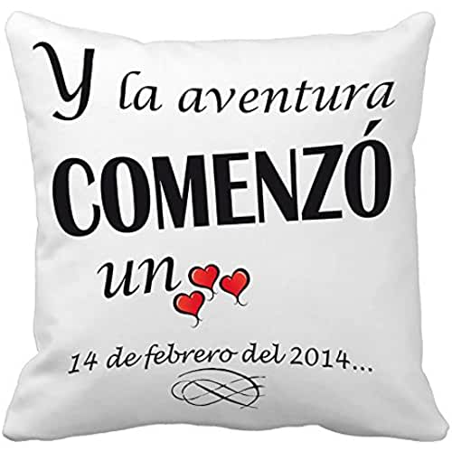 Regalo para tu pareja por San Valentín o vuestro aniversario: cojín Amor personalizado con fecha