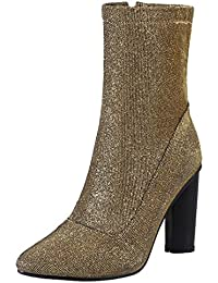 AIYOUMEI Damen Glitzer Stiefeletten mit 10cm Absatz und Reißverschluss Westlicher Stil Klassischer Pailletten Stiefel c17J9xyfE