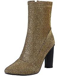 AIYOUMEI Damen Glitzer Stiefeletten mit 10cm Absatz und Reißverschluss Westlicher Stil Klassischer Pailletten Stiefel