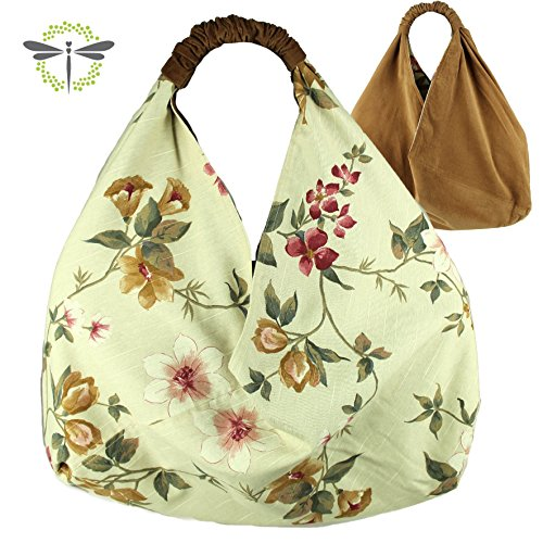 ORIGAMITASCHE Shopper Einkaufstasche Schultertasche - Blumen & gefüttert > neues Design funktional (Tote Strand Natürlicher)