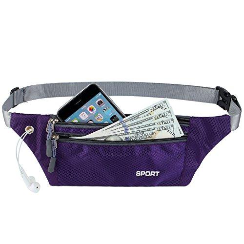 AirZyx Wasserdichte Bauchtasche Geeignet für Sport & Outdoor Aktivitäten, Hüfttasche für Damen und Herren, Bauchtasche Wasserdicht Hüfttaschen für Running (Violett)