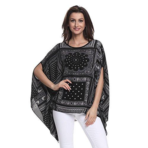 OKSakady Plus Size T-Shirt für Frauen Chiffon Lose Shirt Casual Tops Boho Stil Strand Tragen 6 Farben (Style 10033)