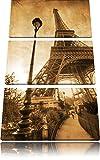 Pariser Eifelturm Retro 3-Teiler Leinwandbild 120x80 Bild auf Leinwand, XXL riesige Bilder fertig gerahmt mit Keilrahmen, Kunstdruck auf Wandbild mit Rahmen, gänstiger als Gemälde oder Ölbild, kein Poster oder Plakat