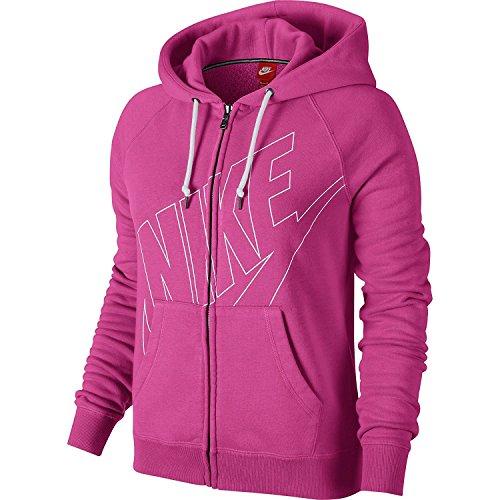 Nike Rally Full-Zip Women's Hoodie Pink/White 642735-612 (Size XS) (Logo Nike Classic Tee)